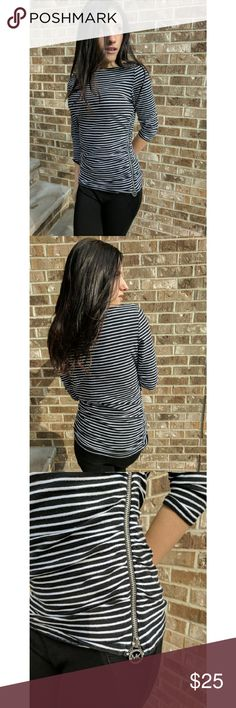 Michael Kors Shirt Black and white stripes. Quarter sleeve. Side zipper. Tag is cut out because of the scratchiness. No trades. No PayPal. MICHAEL Michael Kors Tops Tees - Long Sleeve