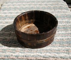 Handmade Antique Wooden Bowl / Tongue and Groove Slats / Firkin Style by CookieGrandma60, $99.50