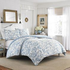 Laura Ashley Brompton Sophia Blue Comforter & Duvet Set