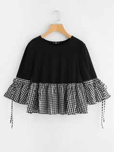 SheIn offers Gingham Flounce Trim Bell Sleeve Tee & more to fit your fashionable needs. Stylish Dresses For Girls, Stylish Dress Designs, Designs For Dresses, Dresses Kids Girl, Girls Fashion Clothes, Teen Fashion Outfits, Girl Fashion, Fashion Dresses, Sewing Clothes Women
