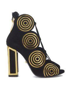 KAT MACONIE Sandalo Tacco Kat Maconie Vera In Camoscio Nero. #katmaconie #shoes #sandals