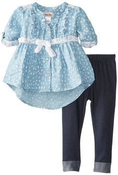 Little Lass Baby Girls' 2 Piece Printed Chambray Legging Set, Chambray, 18 Months