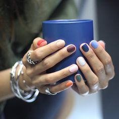 These multicolored nails look so cute and fun. These multicolored nails look so cute and fun. These multicolored nails look so cute and fun. Nail Art Designs, Nail Designs Spring, Trendy Nails, Cute Nails, Multicolored Nails, Colorful Nails, La Nails, Shellac Nails, Acrylic Nails
