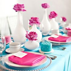 Fushia & teal  table setting