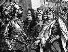 Hernan Cortes and Moctezuma, who thought he was Quenazcoatl, the Aztec sun god. Cortes was just a Spanish tool who wanted gold. Conquistador, Aztec Warrior, My Past Life, Ap Spanish, Montezuma, Travel Ads, Mesoamerican, Inca, Moorish