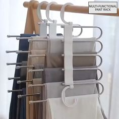 The adjustable storage rack can be hung steadily with two hooks or it can be hung vertically, it can hold up to 5 pairs of pants at one time and it will make your closet tidier.