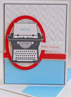 You're My Type (retired) stamp set; Whisper White, Basic Gray & Poppy Parade (retired) CS; Pawsitively Prints II (retired) DSP; Chevron embossing folder; Ovals Collection framelits; Poppy Parade stitched poly ribbon (retired.)