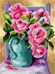 Kanwa - Róże w błękitnym wazonie - Kokardka - sklep internetowy - haft krzyżykowy, szydełkowanie, włóczki, robótki na drutach, kanwy, filcowanie, decoupage, robótki ręczne.