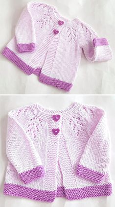 Amazing Knitting provides a directory of free knitting patterns, tips, and tricks for knitters. Baby Cardigan Knitting Pattern Free, Kids Knitting Patterns, Baby Sweater Patterns, Knitted Baby Cardigan, Knitting Designs, Free Knitting, Baby Girl Sweaters, Crochet Baby, Lace Detail