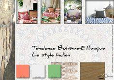 Moodboard - Déco, planche d'ambiance, tendance bohême-ethnique, style indien, réalisation well-c-home