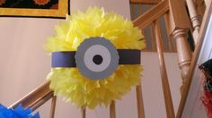Minion party puff decoration Minion Party Theme, Despicable Me Party, Minion Birthday, Birthday Fun, 1st Birthday Parties, Minion Baby Shower, Pink Minion, Banana Party, Bowling Party