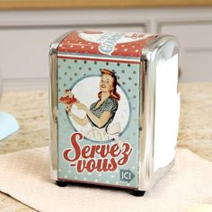 Retro Vintage French Style Metal Napkin Dispenser Holder Store 13cm Dibor - French Style Accessories for the Home http://www.amazon.co.uk/dp/B00FDPKES0/ref=cm_sw_r_pi_dp_kBk1vb16HHN9Y