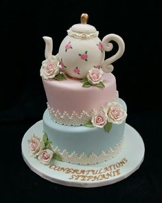 Cake with Tea Pot, Lace & Roses Tea Party Bridal Shower Cake; Cake with Tea Pot, Lace & Roses Girls Tea Party, Tea Party Theme, Tea Party Birthday, Tea Party Cakes, Cake Birthday, Bridal Shower Cake Sayings, Bridal Shower Cakes, Teapot Cake, Tea Party Bridal Shower