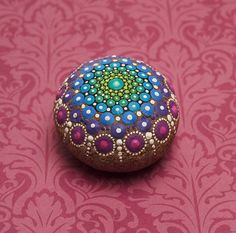 Jewel Drop Mandala Painted Stone Rubies and by ElspethMcLean Mandala Art, Mandala Rocks, Mandala Painting, Pebble Painting, Dot Painting, Pebble Art, Mandala Design, Stone Painting, Stone Crafts