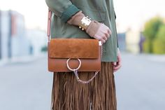 Outfit Ideas, Style Inspiration, Fall Fashion, Fringe Skirt, Chloé Faye Bag