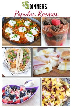 We've compiled some of the most popular frugal recipes from $5 Dinners all into one place for you. We hope you can find something to enjoy for breakfast, lunch, dinner or a snack!