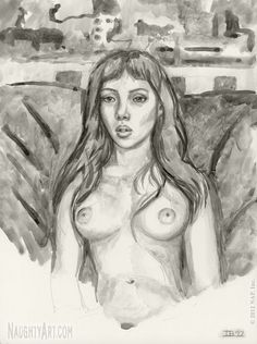 View figure drawings in ink wash of naked girls & life graphite drawings of erotic women. The fine art of rendering the nude female form in black & white. Graphite Art, Graphite Drawings, Life Drawing, Figure Drawing, Ink Wash, Girls Life, Erotic, Watercolor, Fine Art