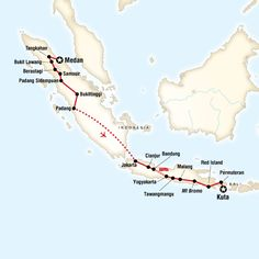 Map of the route for Indonesia in Depth–Sumatra, Java, Bali