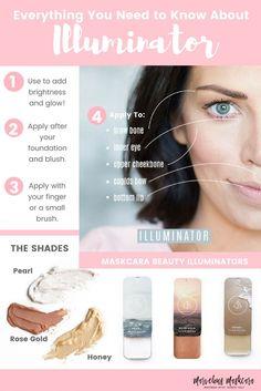 Illuminator Makeup Guide and How To Maskcara Beauty Beauty Care, Diy Beauty, Beauty Makeup, Beauty Skin, Beauty Ideas, Beauty Guide, Face Beauty, Beauty Tricks, Beauty Secrets