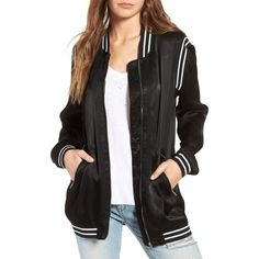 Women's Blanknyc Long Satin Bomber Jacket ($99) ❤ liked on Polyvore featuring outerwear, jackets, power play, zip jacket, satin bomber jacket, metallic bomber jacket, blanknyc and flight jacket