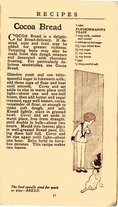 Dying for Chocolate: Cocoa Bread: Fleischmann's Vintage Pamphlet & Recipe