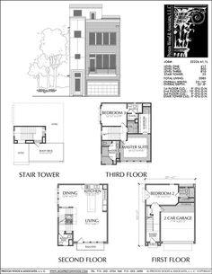 New Townhomes Plans, Narrow Townhouse Development Design, Brownstones – Preston Wood & Associates Narrow Lot House Plans, Narrow House, Modern House Plans, House Floor Plans, Building Plans, Building Design, Duplex Plans, Floor Plan Drawing, Autocad