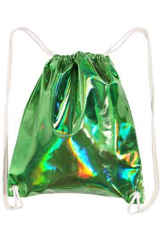 Nirvana| Serafini Amelia| Shop ROMWE | Laser Green Drawstring Backpack, The Latest Street Fashion