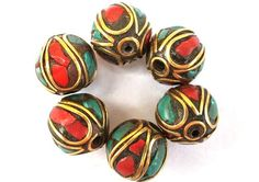 6+Nepal+beads+brass+with+coral+and+turquoise+11mm+by+oritdotan