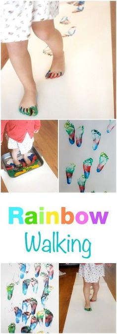 Fantastic activity to do with children of any age! Rainbow walking makes the perfect get your body moving art exercise