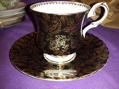 Vintage 50's Elizabethan Gorgeous BLACK & GOLD Bone China Tea Cup & Saucer - UK