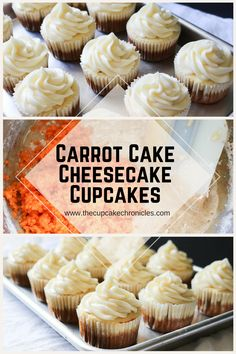 Carrot cake topped with a layer of cheesecake, finished off with cream cheese frosting! Click through for the full recipe! Carrot Cake Topping, Carrot Cake Cheesecake, Cheesecake Cupcakes, Baking Cupcakes, Cupcake Recipes, Cookie Recipes, Cupcake Cakes, Carrot Cakes, Baby Cakes