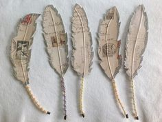 Paper Feathers Altered Book Page Vintage Feather Beaded Feathers Wire Feathers Ornaments Package Toppers on Etsy, $15.00
