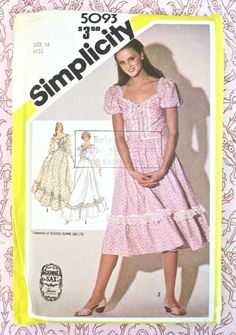 Simplicity 5093 Vintage 1980s Gunne Sax Dress Pattern By Jessica Mcclintock Sweetheart Neckline And Two Lengths