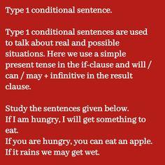 Conditionals Grammar, Conditional Sentence, Simple Present Tense, Type 1, Sentences, Frases