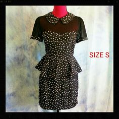 Size S Forever 21 Pinup Polka Dot Dress If you love rockabilly pinup vintage style this dress is for you! Size small from forever 21, this dress is polyester with no stretch. Peplum style dress with Peter Pan collar, cheer stretch bustline, back zip and neck clasp. Measures: 32 bust, 26 waist, 36 hips and 35 length. All measurements taken lying flat and not stretched. Comes from non smoking pet friendly home with one dog. Forever 21 Dresses Mini