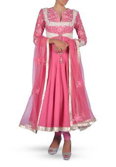 Carnation Pink Embroidered Anarkali Suit