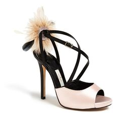 kate spade new york 'carlton' sandal (4.780 ARS) ❤ liked on Polyvore featuring shoes, sandals, high heel shoes, feather shoes, high heel sandals, adjustable shoes and kate spade