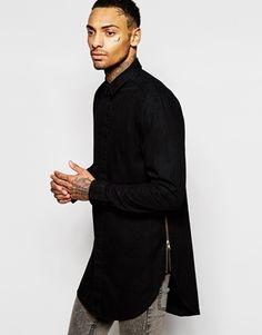 ASOS Overdye Shirt in Long Sleeve with Zips