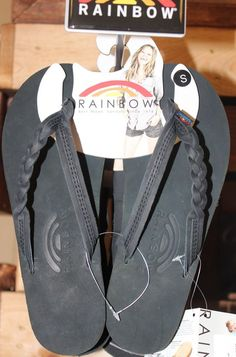 4eef85ada10f Rainbow Flip Flops Black with a breaded and single strap  50