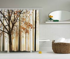 Details About Fall Tree SHOWER CURTAIN Falling Leaves Bathroom Decor Fabric Waterproof Hooks