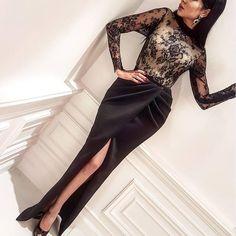 Inspired Yousef Aljasmi Dubai Black Evening Dresses 2017 High Neck Lace Mermaid Slit Long Sleeve Ladies Arabic Evening Gowns