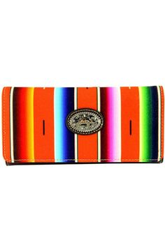 """Serape blanket inspired prints Bright summer colors Single removeable strap to convert the wallet in a wristlet Single compartment divided by a medium zippered pocket Pockets on the inside for ID credit cards cash and more A zippered pocket on the back  Dimensions:7.75 x 1.25 x 4""""  Serape Collection Wallet by Montana West. Bags - Wallets & Wristlets South Dakota"""