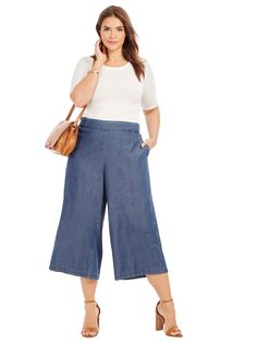 Women S Plus Size Maxi Dresses With Sleeves Code: 7150569599 Plus Size Culottes, Plus Size Jeans, Plus Size Maxi Dresses, Plus Size Outfits, Denim Culottes Outfits, Curvy Outfits, Fashion Outfits, Dresser, Chubby Fashion