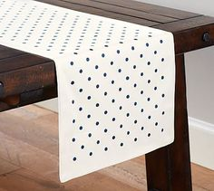 Polka Dot Embroidered Runner Pottery Barn, Dinnerware, Table Linens, Dining  Rooms, Table