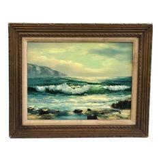 Vintage Seascape Oil on Canvas Painting