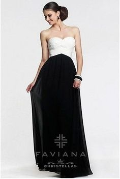 0eb12b3c6e4c Faviana Strapless Sweetheart Chiffon Dress 7338 Ivory Black Women's Gown 12  <br><font rwr= 1 size= 2 style= font-family:Arial ></font><br> <div style=  ...