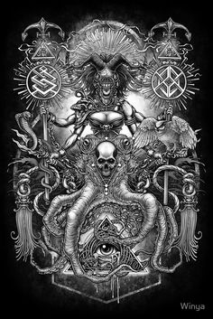 """""""Winya No. 85"""" Posters by Winya   Redbubble women,horror,bones,skull,black and white,spooky,tattoo,surreal,witch,halloween,magic,reaper,occult,skeleton,cruel,amazon,eyes,culture,girl,sexy,pinup,art line,line work,death metal,death,blind,baroque,victoria,streem punk,gothic,pop culture,triangle of light,triangle,third eyes,snake,cobra,owl,graves,dark,fantasy,mystical,sacred geometry,octopus,creepy,fairy,angel,myth,queen"""