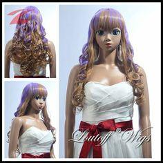 Perücke Cosplay Wig gelockt lang blond und lila