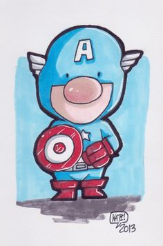 ORIGINAL ART - Captain America,4X6 marker sketch by Kate Carleton