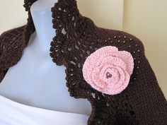 Hand knitted-crocheted .Brown shrug by selecta6 on Etsy